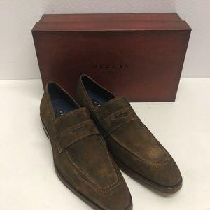Mezlan shoes suede slip on loafer cognac captoe